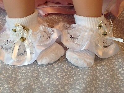 White Baby Girls Lace Frill Socks Tartan Ribbon Trim with Bows Size 0-3 Months
