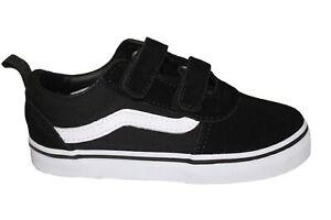Toddler Vans Black White Strap Trainers