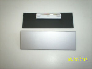 "20 Silver/black blank name badges tags 1x3"" with pins"