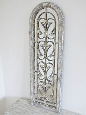 Long Wooden Rustic Style Distressed/Shabby Mirror White/Blue With Metal Detail