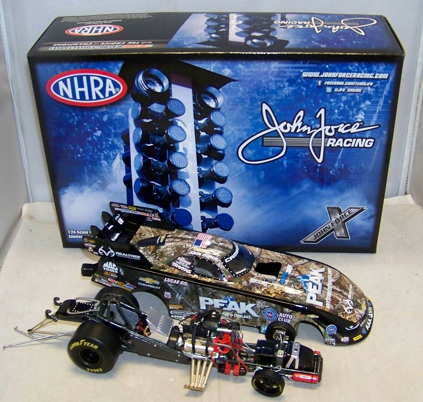 1 24 2016 ACTION NHRA PEAK REALTREE CAMOUFLAGE CHEVY FUNNY CAR JOHN FORCE 1 1021