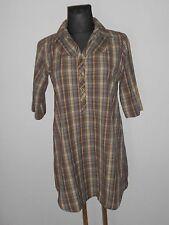 SOCCX Damen Tunika Bluse Kleid Krempelärmel Gr.L kariert  ##R4