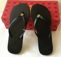 TORY BURCH Flip Flop Black Sz 6 7 8 9 10 Gold Logo Thong Sandals NEW