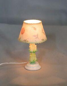 Dollhouse Miniature Shabby Chic Yellow Tulips Ceramic Table Lamp Lighted Light
