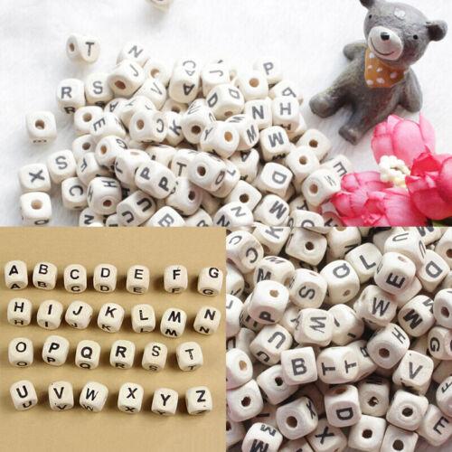 200stk Holz Alphabet Buchstaben Spielzeug Würfel Perlen DIY Handwerk