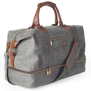 Details About Canvas Travel Tote Luggage Men S Weekender Duffle Bag With Shoe Compartment