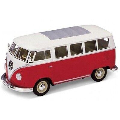 BLITZ VERSAND VW Ciassical Bus T1 1962 rot-weiss 1:24 Welly Modell Auto NEU OVP