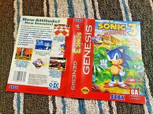 Box Art Only Sonic The Hedgehog 3 Iii Original Sega Genesis Case Sleeve Oem Ebay