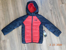 Under Armour Boys Puffer Rain Jacket Size 3T Grey Red