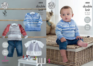 148584e2351e King Cole Baby Double Knitting Pattern Easy Knit Raglan Sweaters ...