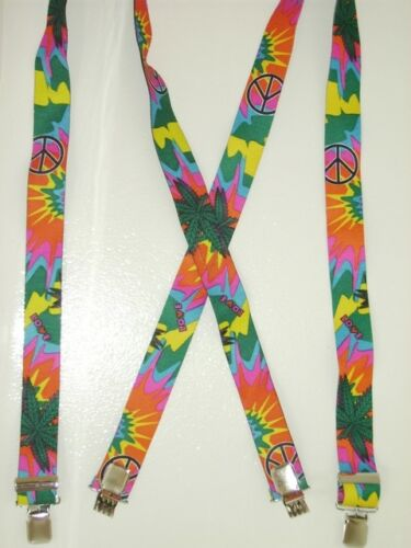 X-STYLE-MARIJUANA-RETRO-SUSPENDERS-SNAPS-CLIPS-or-Button-On-EARS-4SIZES
