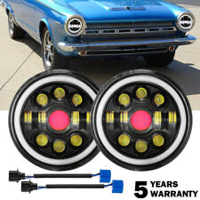 For Dodge Dart 1964 1976 Ramcharger 7inch Round Angel Eyes Led Headlights Withdrl