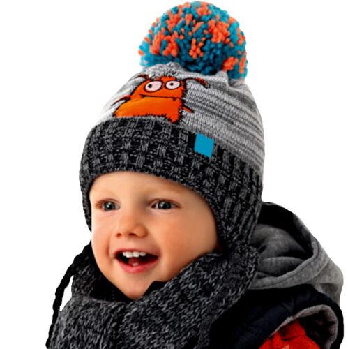 AJS Baby Jungen Kinder Winterset Mütze gefüttert Wintermütze Schal mit Wolle