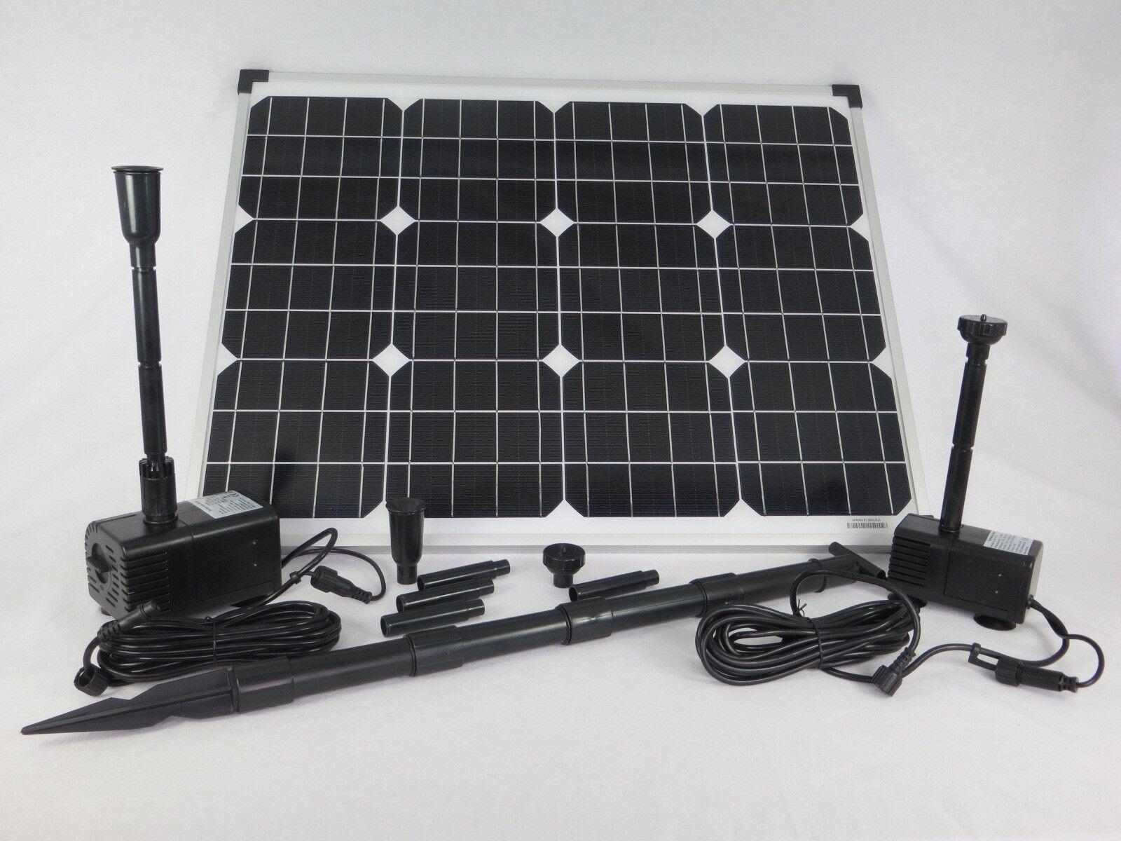 50 Watt  Solar Pumpenset mit 2 Pumpen Bachlauf Gartenteich Teich Tauch Pumpe NEU