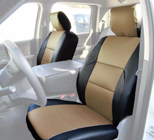 DODGE RAM 2009-2018 BLACK//BEIGE S.LEATHER CUSTOM MADE FIT FRONT SEAT COVER