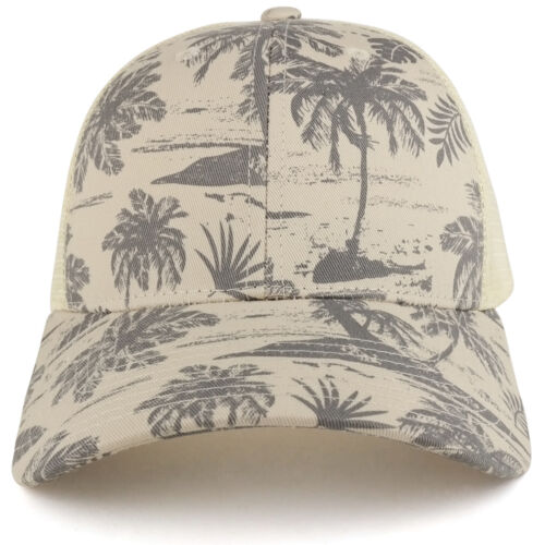Tropical Floral Print Trucker Mesh Back Structured Baseball Cap FREE SHIPPING
