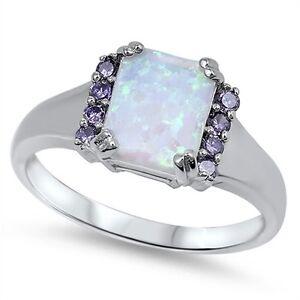 925 Sterling Silver Princess Cut Simulated Opal Amethyst