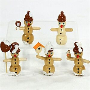 5 schneemannfiguren figuren zum basteln pyramide adventsleuchter 6 cm weihnacht ebay. Black Bedroom Furniture Sets. Home Design Ideas