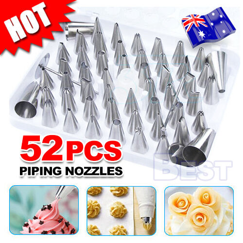 52pcs Cream Icing Piping Nozzles Set Kit Pastry Tips DIY Cake Decorating Tool AU