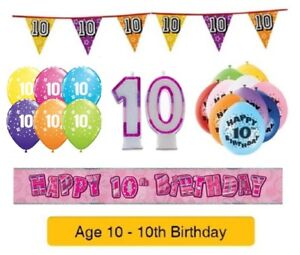 AGE 10 BIRTHDAY BANNERS PARTY DECORATIONS FOR 10th BIRTHDAY