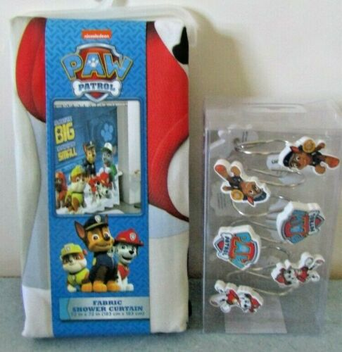 "Paw Patrol Fabric Shower Curtain With Rings NEW 72/""x72/"""