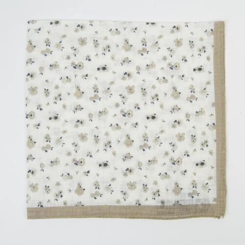 Aquascutum London $105 Beige White Navy Blue Small Floral Linen Pocket Square