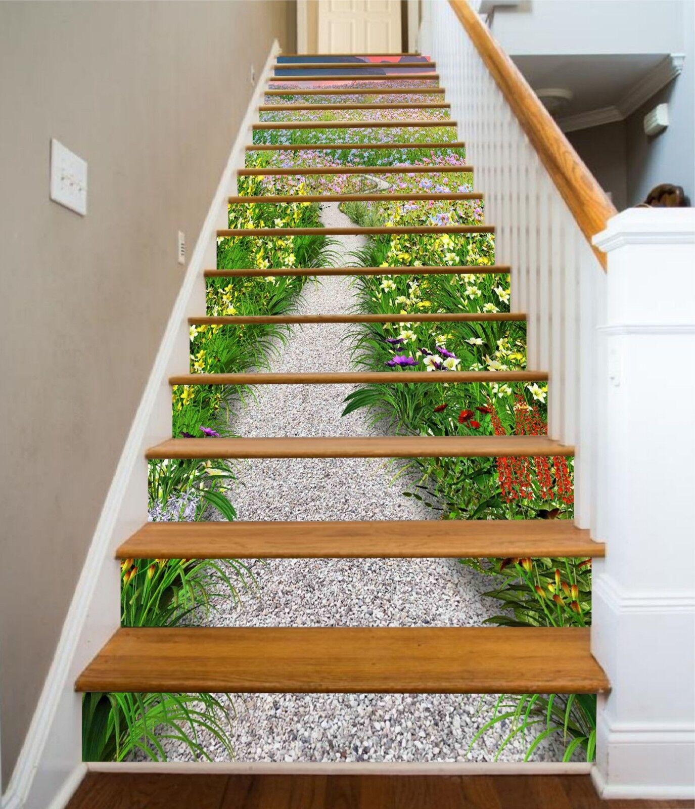 3D Flowers Road 3 Stair Risers Decoration Photo Mural Vinyl Decal Wallpaper CA