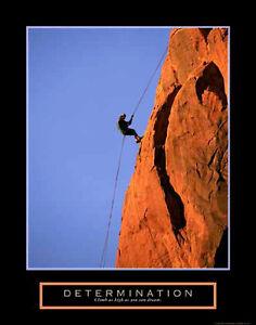 Details About Determination Rock Climbing Rappelling Motivational Inspirational Poster Print