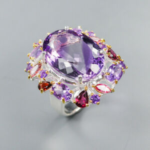 Amethyst Ring 925 Sterling Silver Size 8.5 /RT20-0108