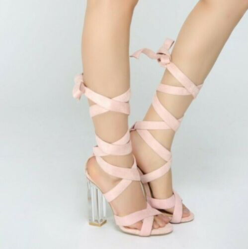 Details about  /Gladiator Peep toe Sandals Bridal Party Ladies Crystal Heel Cross Strap Lace Ups
