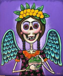 Mexican-Painting-German-Rubio-Folk-art-Mexican-day-of-the-dead-angel-with-frog
