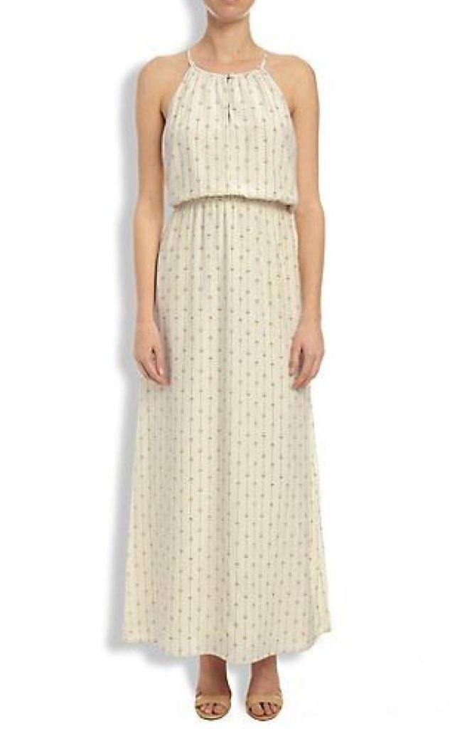 Lucky Brand - XL - NWT - Geometrisch Bedruckt 100% Seide Krepp Maxi Kleid