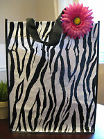 Large Zebra Print Eco Shopping Tote Bag W/ Pink Color Flower Accent