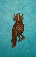 Pendant Owl Charm Bronze Hoot Owl Charm Tree Animal Charm Feathers Bird Charm