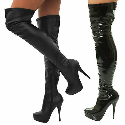 SEXY KINKY FETISH LEATHER HEELS THIGH HIGH OVER THE KNEE BLACK STRETCH BOOTS