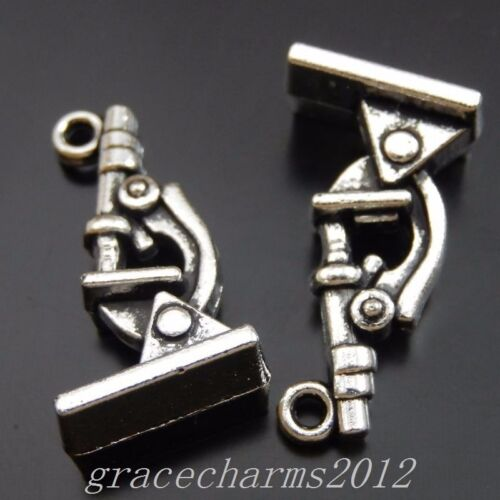 28pcs Antiqued Silver Alloy Microscope Pendant Charms 20x8mm 39981