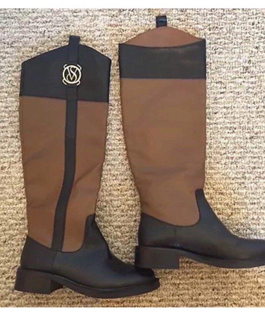 VS Victoria's Secret Women's Buckle Riding Boot. Black Beige Hazelnut Brown. 5B