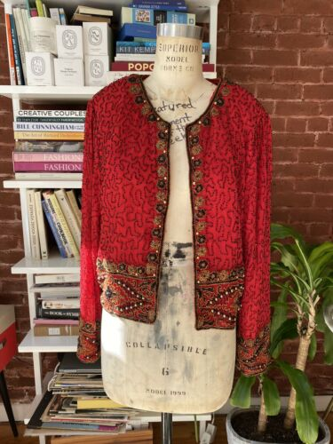 Gorgeous Vintage Red Sequin beaded jacket Size Med