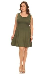 Details about New Plus Size Olive Green Sleeveless Basic Above-Knee Shift  Dress Size 1X 2X 3X
