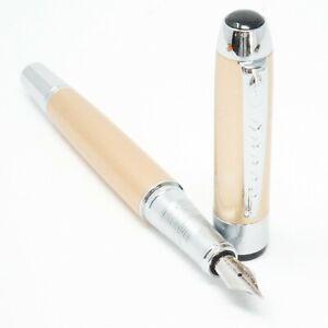 UK! Jinhao Ivory//Off White//Milk #991 Opaque Fountain Pen Fine Nib Chrome Trim
