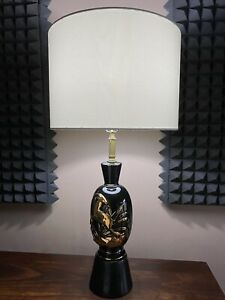 Vintage-Mid-Century-Black-And-Gold-Ceramic-Table-Lamp-With-Impala-Figure-MCM