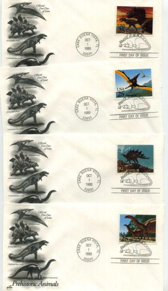 2422-25 Dinosaurs, set of 4 ArtCraft, FDCs