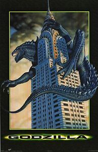 MOVIE POSTER~Godzilla 1998 Chrysler Building Apache Pilot Skyline Tower NYC New~
