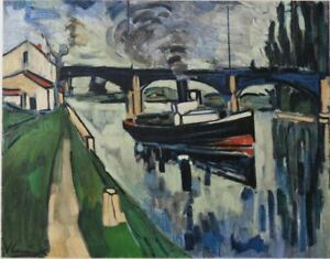 Maurice-de-vlaminck-the-seine-at-poissy-lithograph-signed-1958-mourlot