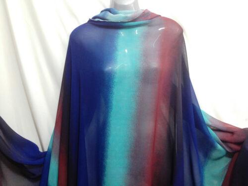Ample Mousseline Georgette rayures Menthe//Bleu Foncé//Marron robe//artisanat tissu NEUF *
