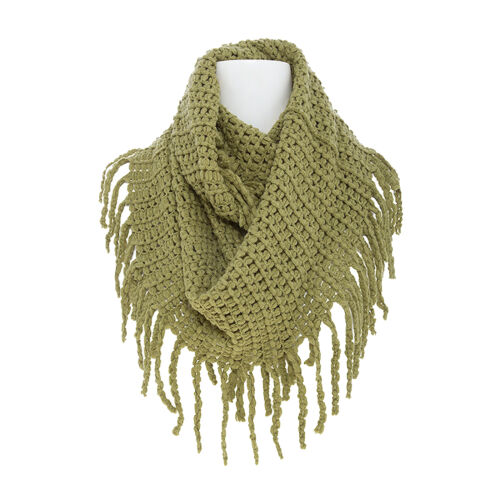 Women Winter Warm Infinity Long Circle Cable Knit Cowl Neck Tassel Scarf Shawl