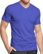 Alfani Mens V Neck T Shirt Sz XL Baltic Blue Short Sleeve Slim Fit Casual Shirt