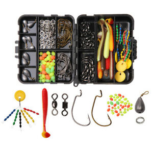 Texas-and-Carolina-Rig-Fishing-Tackle-Box-Kit-Swivels-Hooks-Lures-Sinkers-Beads
