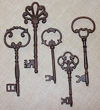 Item 1 New Set Of 5 Large Ornate Cast Iron Rust Antique Style Skeleton Keys
