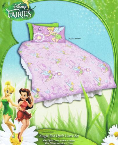 2 x Disney Fairies Tinkerbell purple Single//Twin Bed Quilt Doona Duvet Cover Set